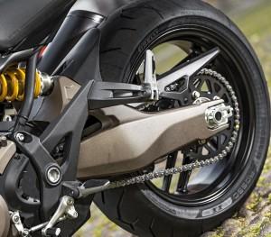 Ducati Monster 821 swingarm and rear wheel shot