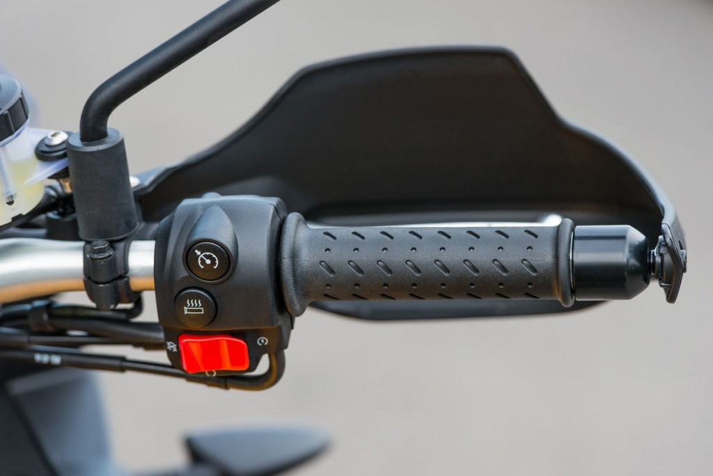 Heated grips are an optional extra.