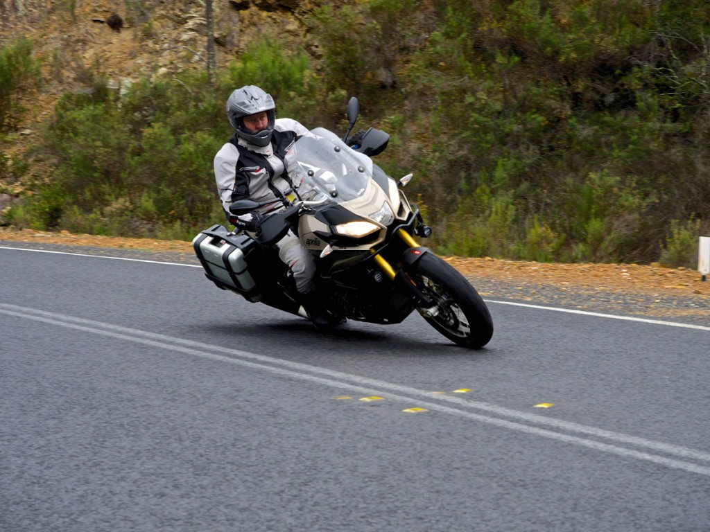 The Rally wears Metzeler Tourance tyres, which are fantastic dual sport hoops but more road oriented than knobbys.