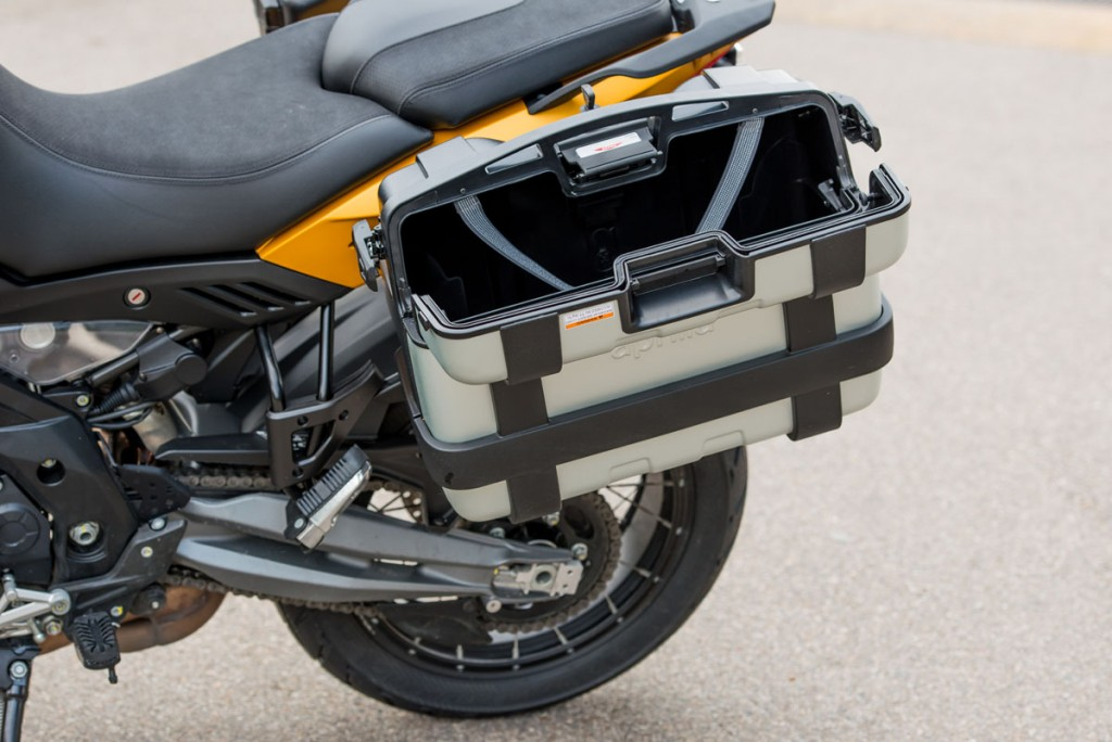 Lockable hard panniers come standard on the Rally.