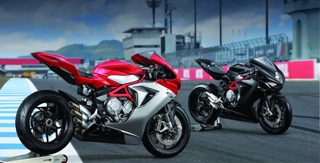MV Agusta's 2015 F3 800s displayed on the track
