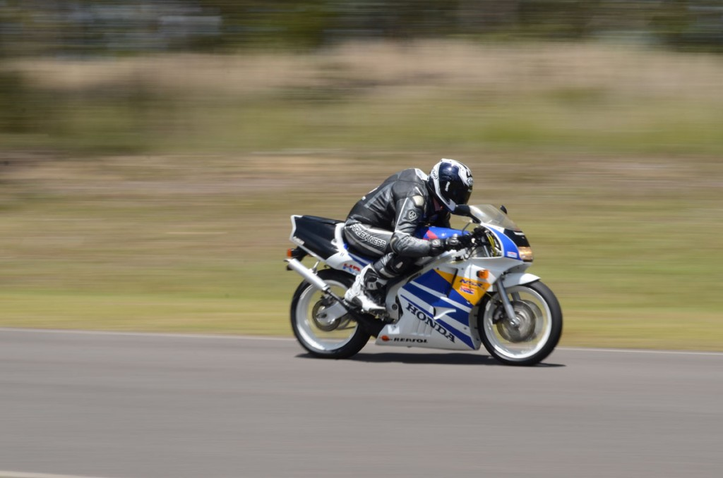 Jeff at top speed on the amazing NSR250. What a cool machine... and so fast.