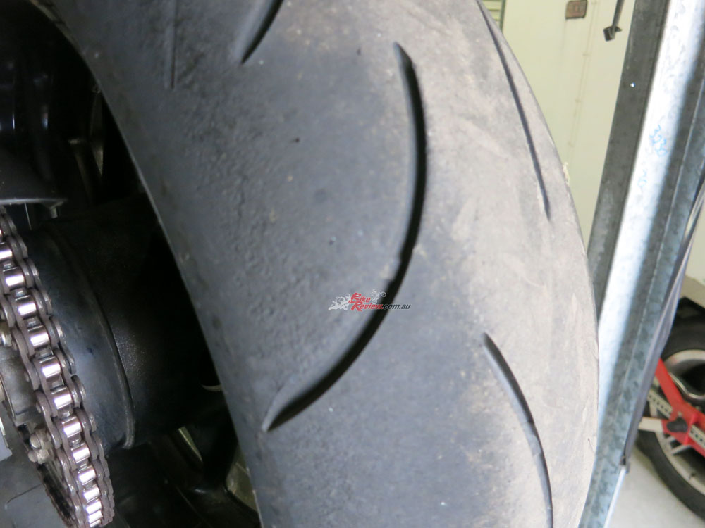 The Dunlop D214 OEM tyres were worn out after 5000km of road riding so it was time to replace them. I decided to go with Pirelli Diablo Rosso Corsa II, as I want a sportier handling tyre and more front feel. The Dunlops were fantastic but don't offer the feel on the edge of the tyre that the Pirelli's do and don't quite have the same level of grip when pushing harder, particularly on the very edge of the tyre. There will be a full test on the D214s published soon.