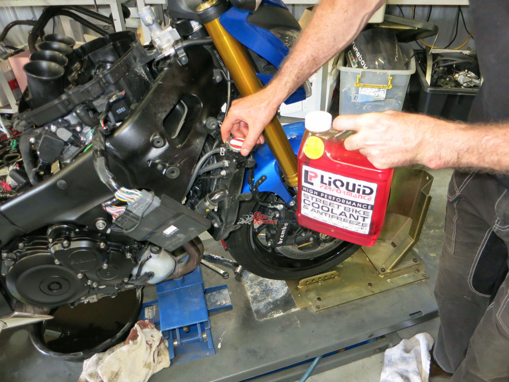 Coolant was then topped up using Liquid Performance Streetbike Coolant.