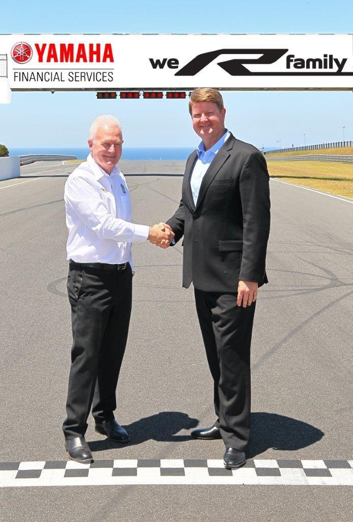 lr Fergus Cameron welcomes Brad Ryan of Yamaha Financial Services to Phillip Island's WorldSBK round