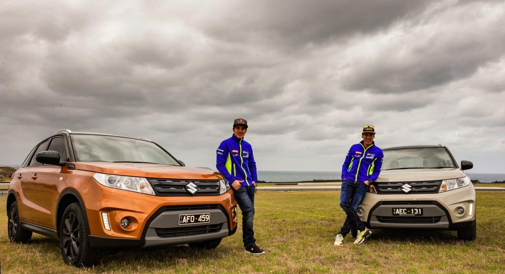 Team Suzuki Ecstar Riders Maverick Vinales & Aleix Espargaro with the Suzuki Vitara.