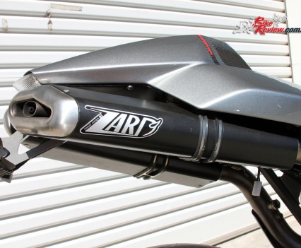 Zard dual underseat carbon-fibre exhausts.