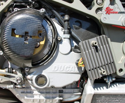 Carbon-fibre clutch cover for the Ducati dry clutch.