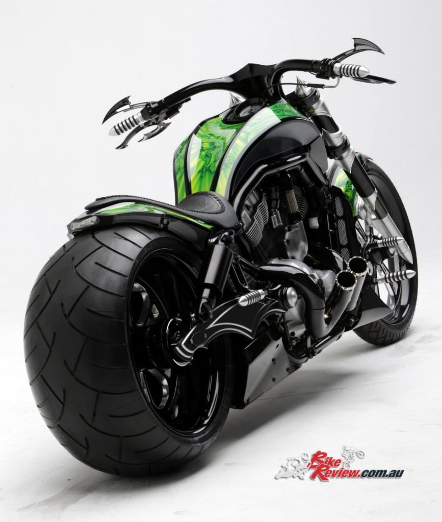 Bike Review PCC Custom HD V-Rod Neon Black (1)