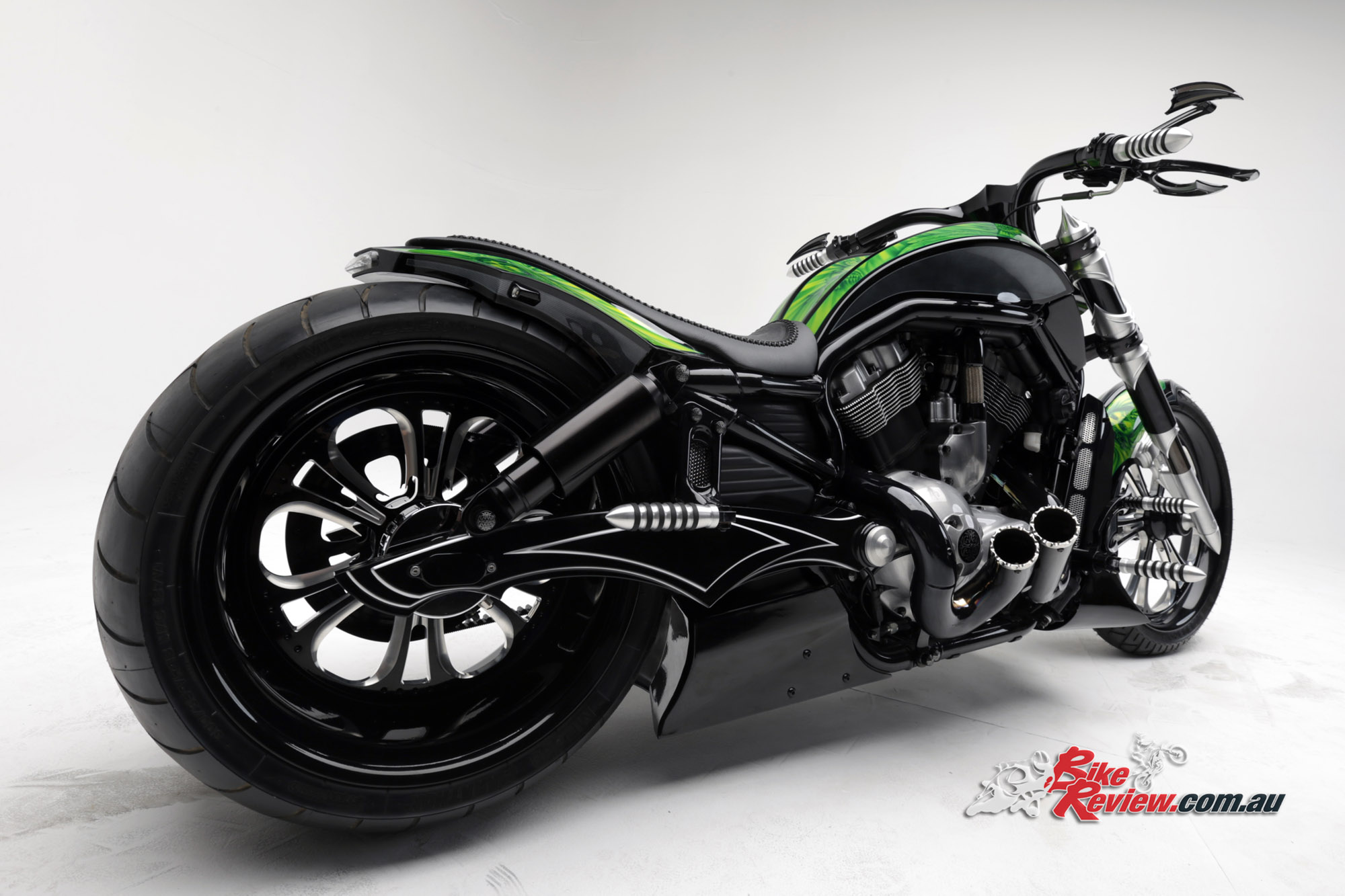 custom pega custom cycles neon black v rod bike review. Black Bedroom Furniture Sets. Home Design Ideas