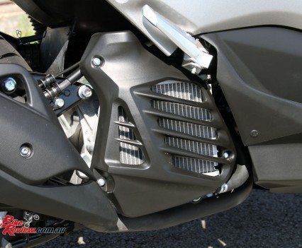 The side mounted radiator with fins to help airflow.