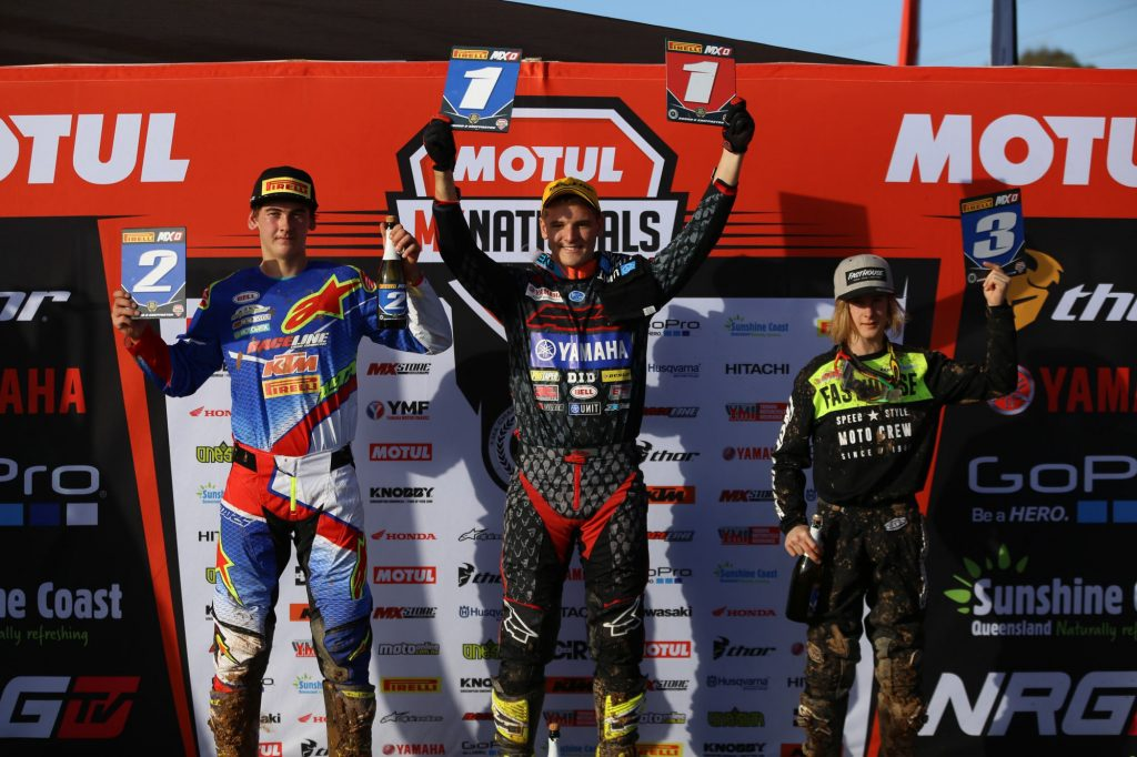 The MXD podium from round eight of the MX Nationals.