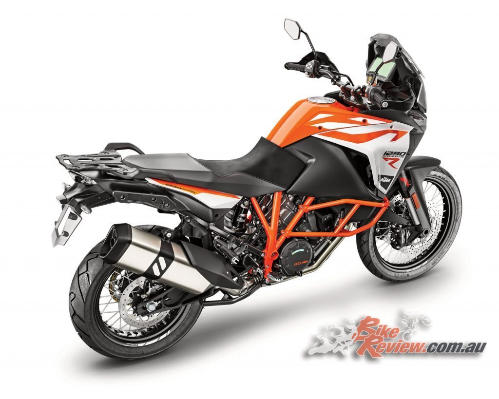 2017 KTM 1290 Super Adventure R, with massive new 6.5in TFT display.