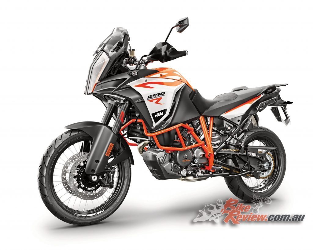 2017 KTM 1290 Super Adventure R, with Motorcycle Stability Control (MSC) with lean angle sensitive ABS and traction control.
