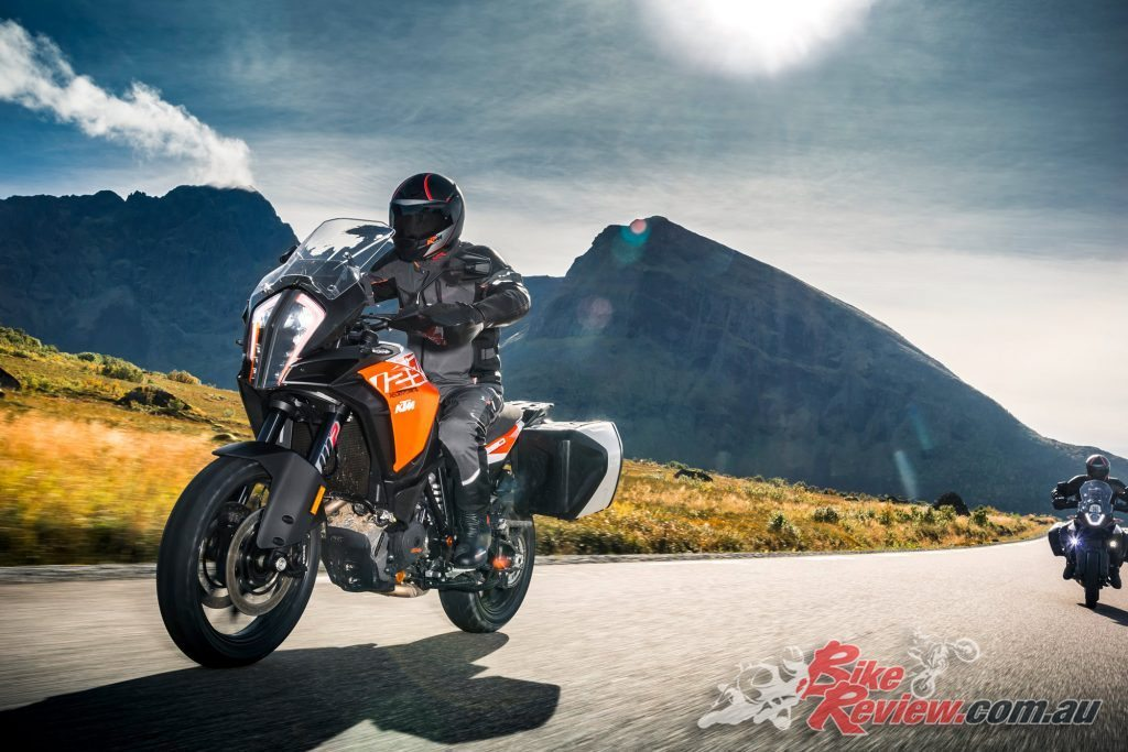 2017 KTM 1290 Super Adventure S, with LED headlight and cornering lights, and a new TFT display.