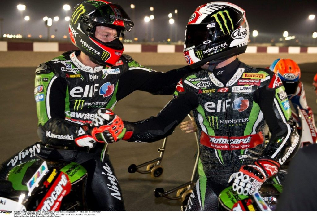 5. Tom SYkes congratulates team mate Jonathan Rea on a second Kawasaki title in WorldSBK