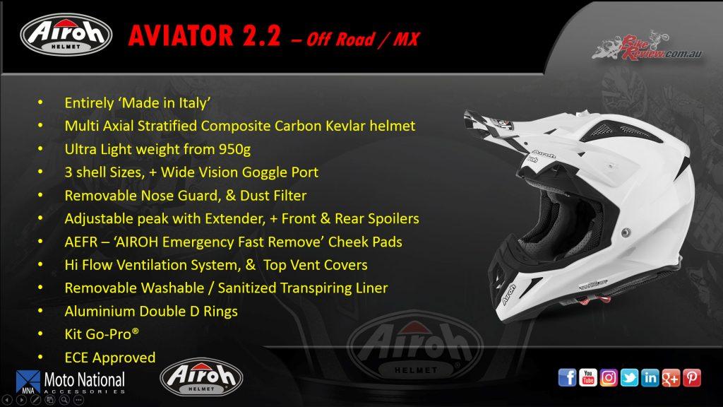 Airoh Aviator 2.2, offroad/MX helmet. Available in TCMN16 Gloss, Styling White Matt, Flash Blue Gloss and Rockstar 2016 Matt.