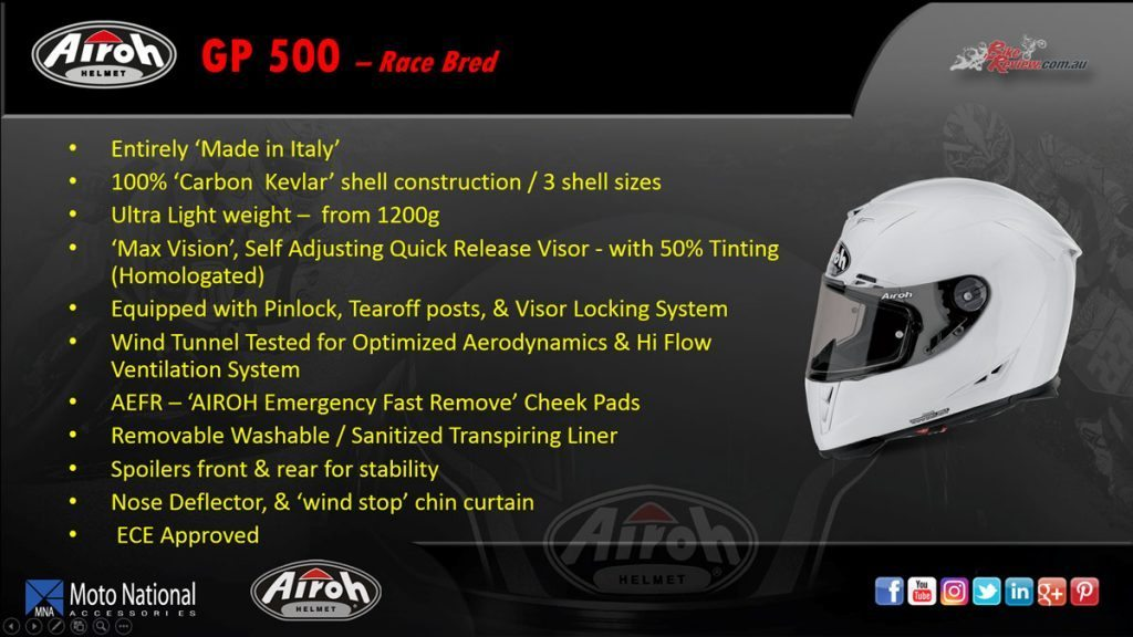 Airoh GP 500 race bred helmet, available in Regular Red Gloss only.