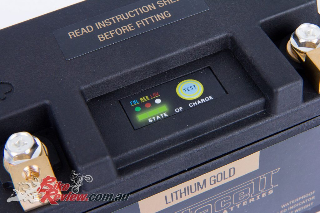 Motocell Gold Lithium-Ion batteries, with LCD battery health display.