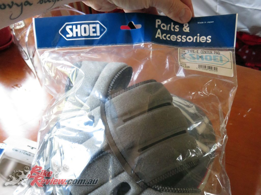 Shoei NXR helmet, replacement Center Pad