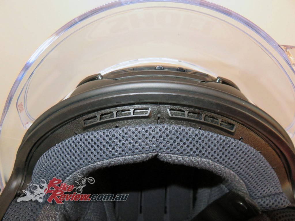 Shoei NXR helmet, Center Pad fitment (front)