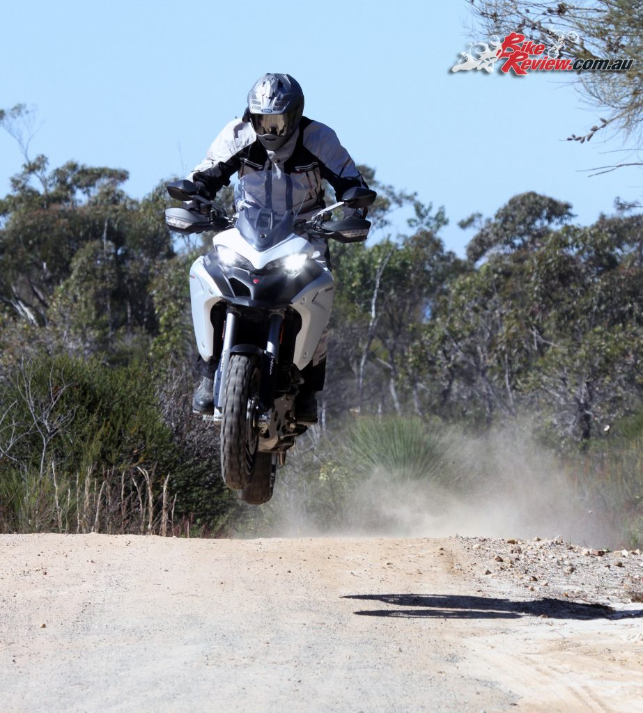 The Ducati Multistrada Enduro is the big go anywhere member of the Multistrada family. With 200mm of travel and Ducati Skyhook suspension, heading onto the dirt off the tarmac is a push of a button away. The bike is extremely good fun off road in the more open fast stuff as Jeff demonstrates!