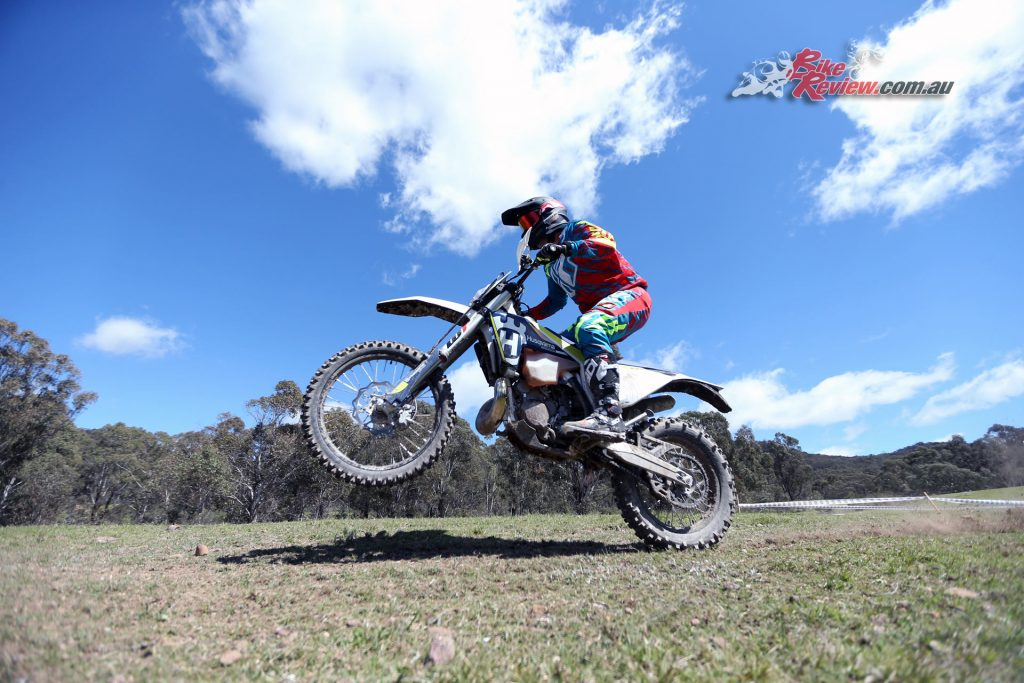 The TE 300 can be an easy bike to tackle the low speed trails but if you get angry on it, then it gets angry right back at you. It may be refined and smooth but it is still a 300cc two-stroke single! Thanks to Trevor Hedge from mcnews.com.au for the action!