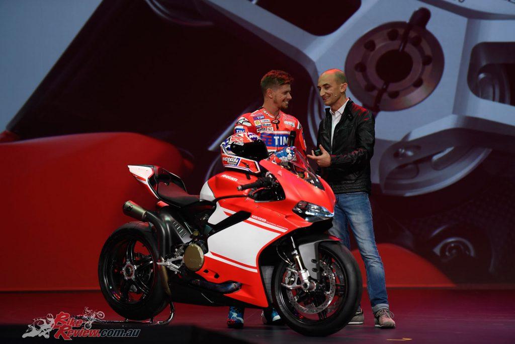 Casey Stoner with the new 2017 Ducati Superleggera