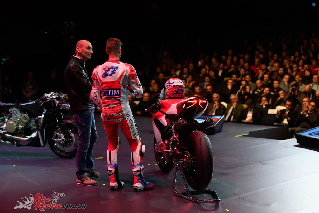Casey Stoner with the 2017 Ducati Superleggera