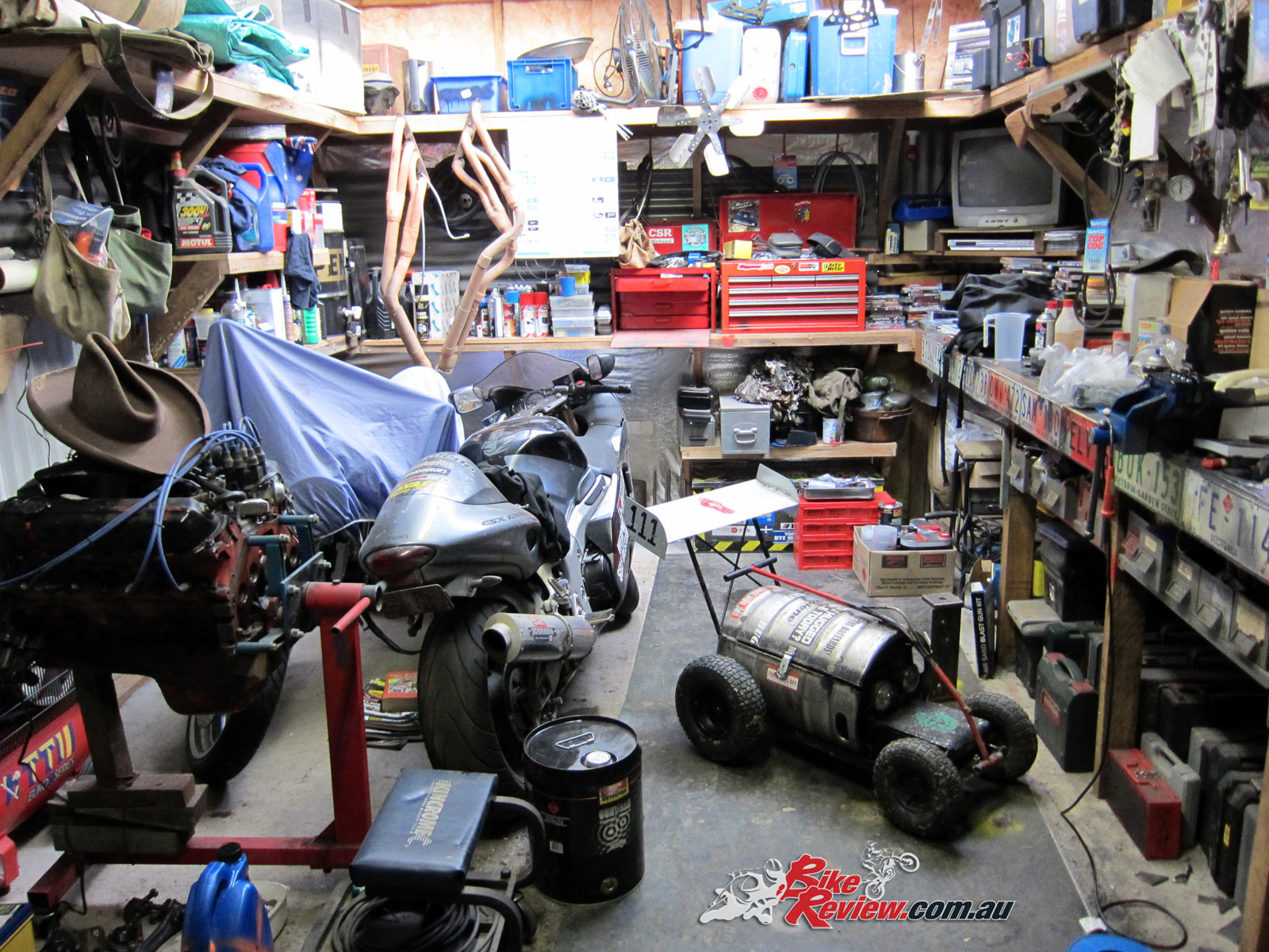 A well stocked shed, with tools, machinery and literature