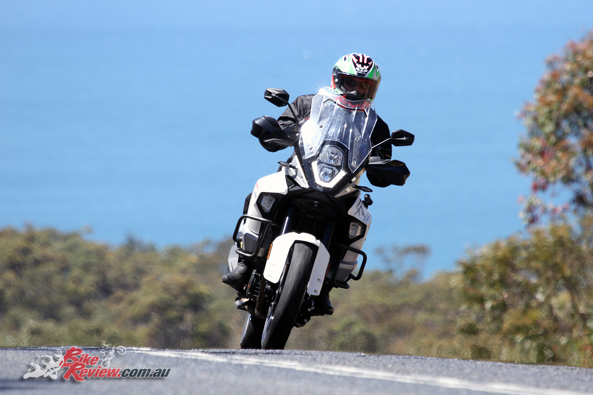 We had road tyres fitted for our test as Richard did 3500km on the tarmac riding from north of Sydney to Phillip Island and back. He had a blast in the twisties racing his sportsbike riding mates.