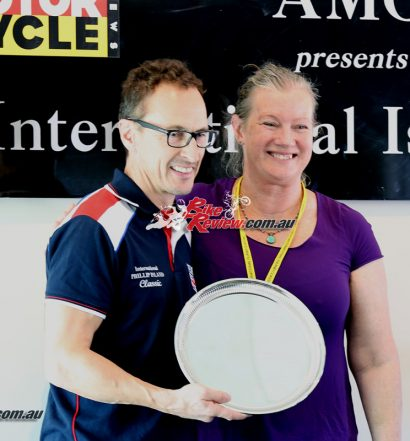 2017 Island Classic Award Ceremony - Karen Wootton presents Jeremy McWilliams with the Ken Wootton Perpetual trophy