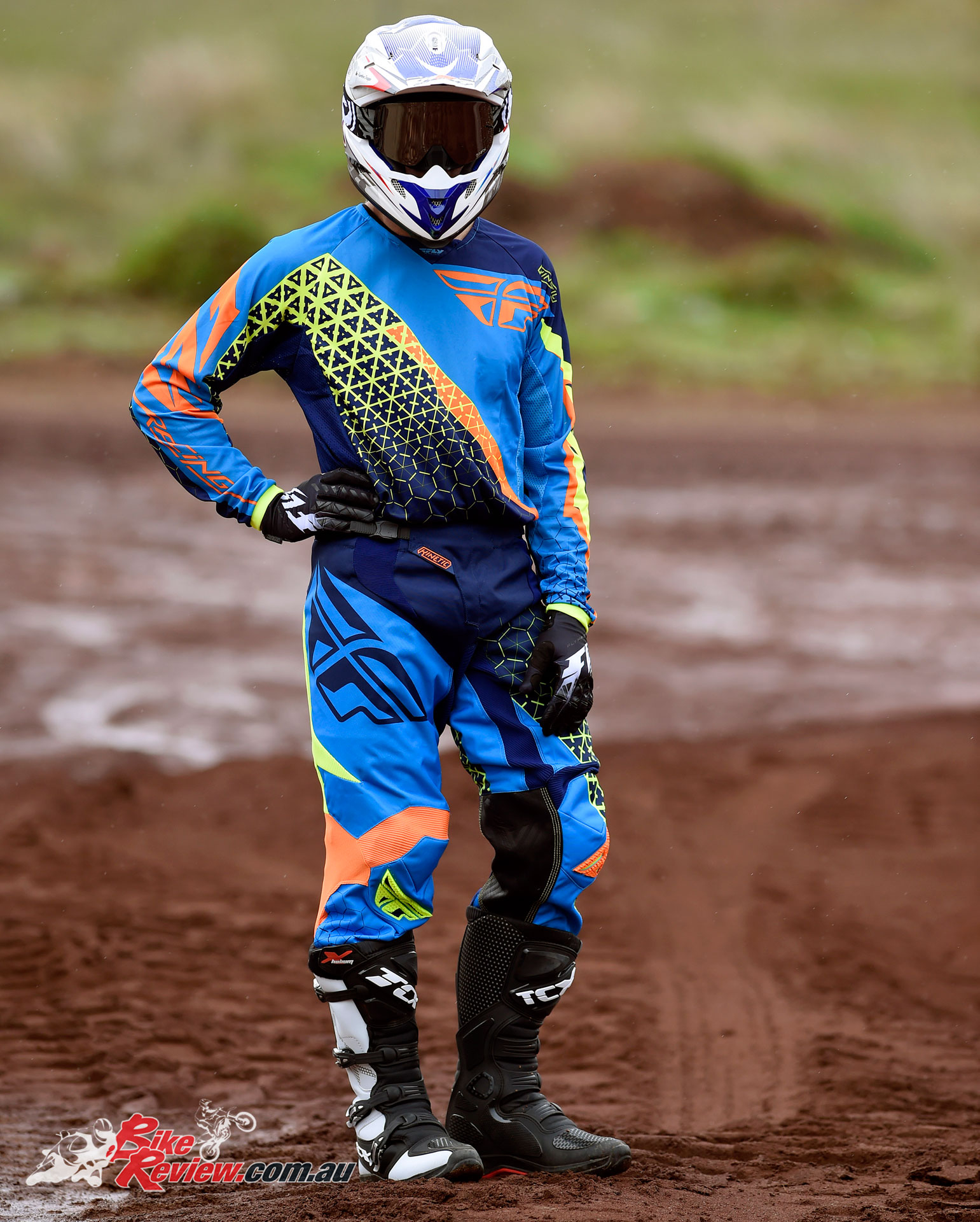 Fly Racing Kinetic jersey, gloves, pants, M2R X4 helmet, TCX X-Helium boots