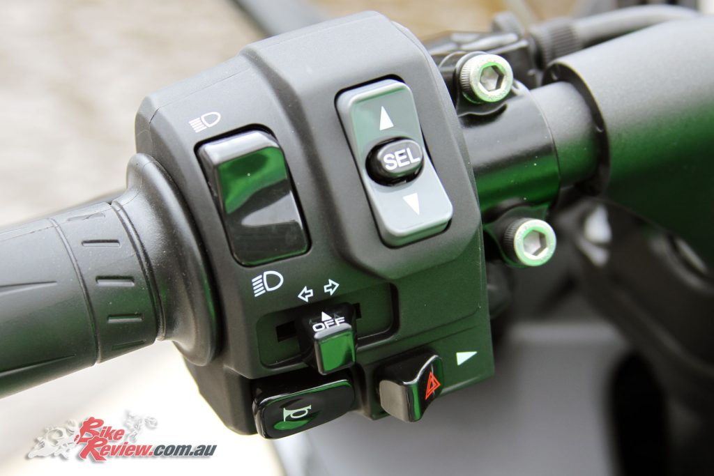 2017 Kawasaki Ninja 1000 - Left switchblock, with controls for the KTRC and power modes