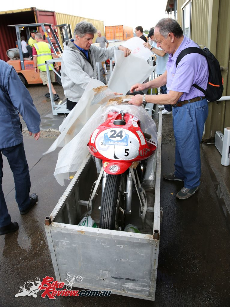 2017 International Festival of Speed preparation - motorcycle unloading