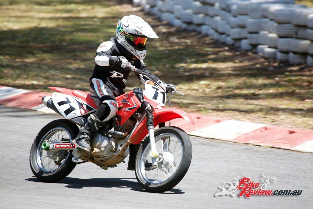 James on the modified CRF 80