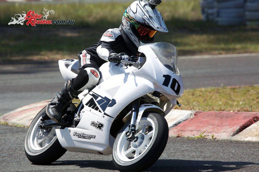 James riding the Kayo MiniGP MR150