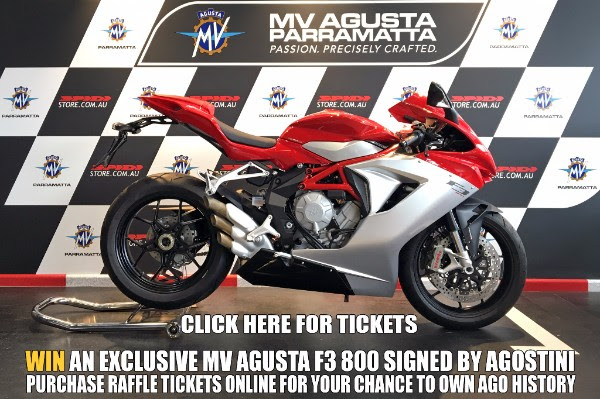MV Agusta F3 800 - Click to buy tickets, and scroll down to 'MV Agusta F3 800 Raffle' ($10 a ticket).