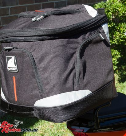 Ventura EVO-40 Luggage Kit with the bag fitted to the Sports Rack