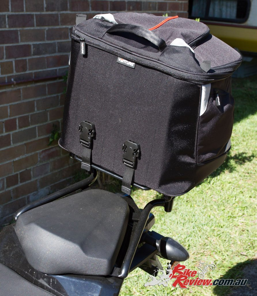 Ventura EVO-40 Luggage Kit with the bag fitted to the Sports Rack. The clips hold the bag in place securely.