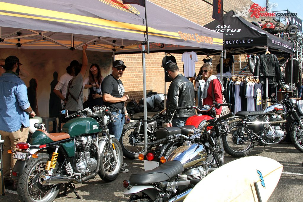 2017 Throttle Roll - Royal Enfield stand complete with Continental GT and a surf board carrying RE
