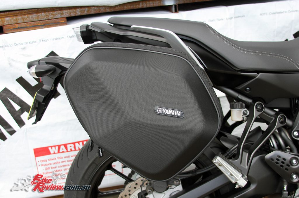 Panniers as standard fitment are going to be attractive to plenty of buyers and are semi-rigid, with a fabric outer and reinforced inner. We haven't had a chance to see how much we can fit into them!