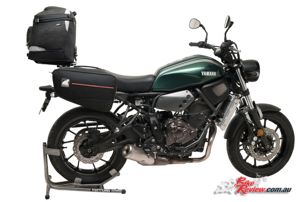 Yamaha XSR700 with Ventura EVO Touring Rack system and Bonneville panniers