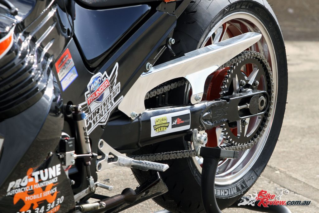 Custom Pro-Tune nine-second Kawasaki ZX-14 - 8in extended swingarm