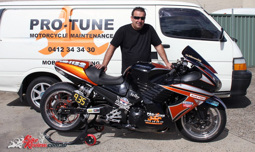 Custom Pro-Tune nine-second Kawasaki ZX-14 - Manuel with his ZX-14 and the Pro-Tune mobile servicing van.