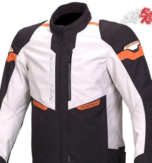 Macna Traction Jacket in Black/Ivory/Orange