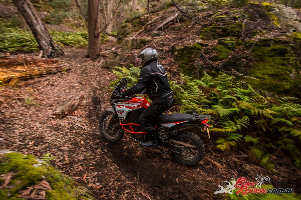 Despite its size and weight the 1290 Super Adventure R handled the rough sections well