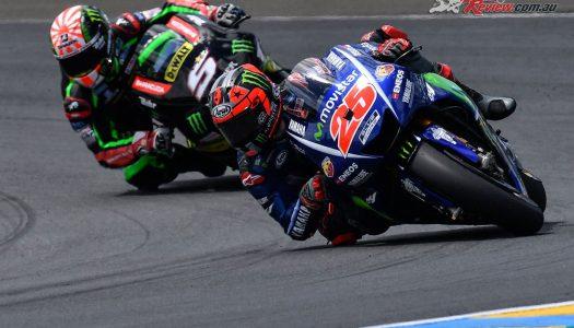 Vinales triumphs at Le Mans as Rossi crashes out