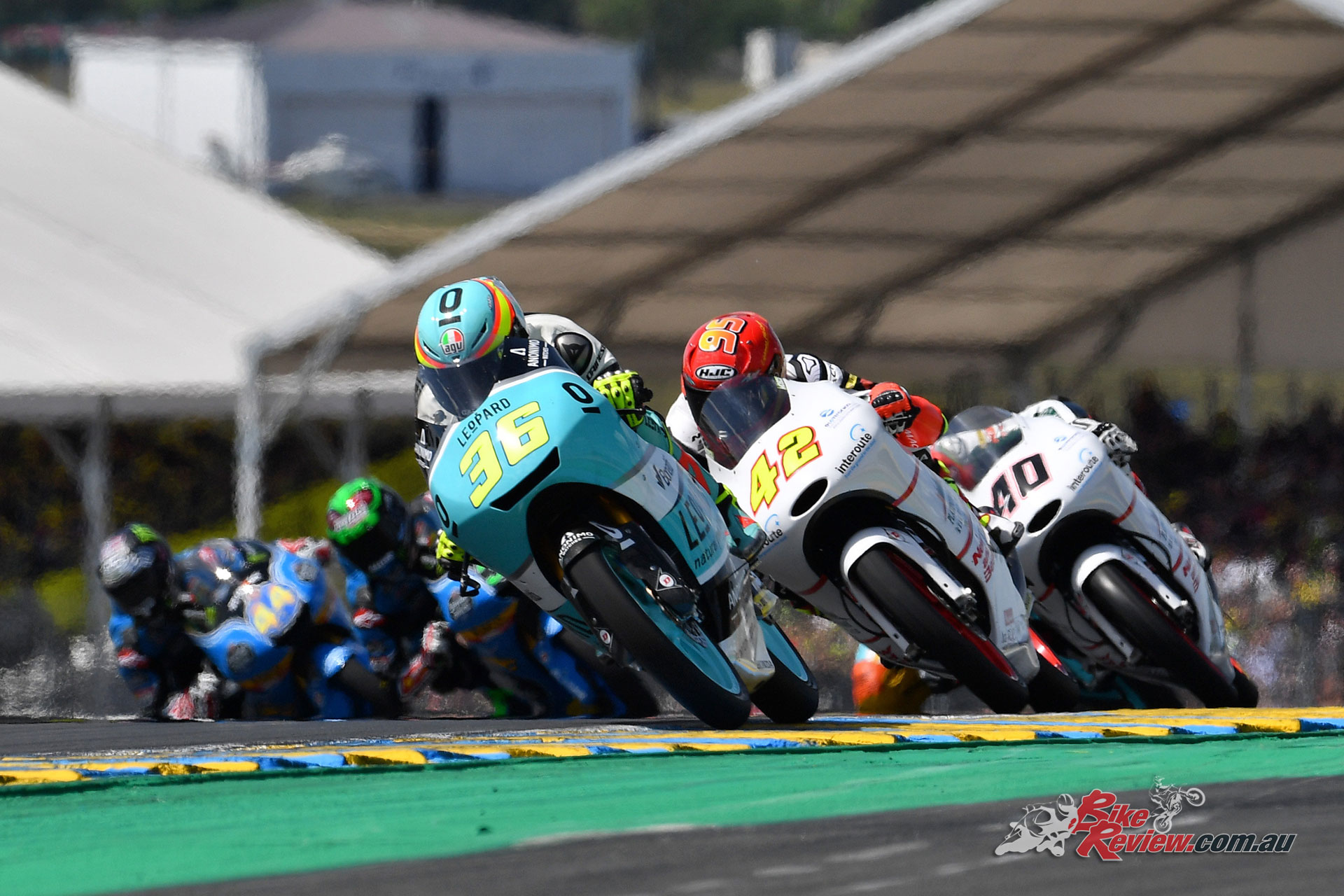 Joan Mir in the lead at Le Mans