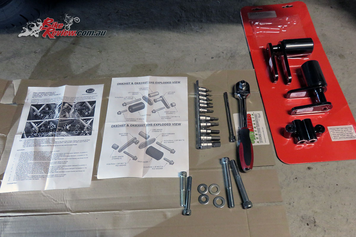 Oggy Knobbs, instructions and tools. A socket set, set of allen key heads, Loctite and torque wrench are what you'll need. Plus a jack is recommended to support the engine.